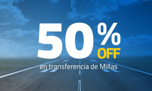 50% OFF en transferencia de millas